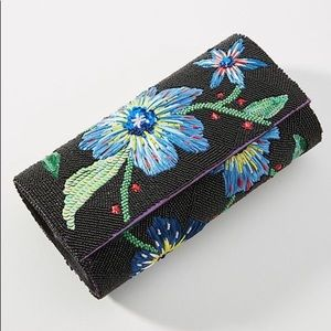 Anthropologie Floral Beaded Clutch OS